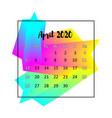 2020 calendar design abstract concept april 2020 vector image vector image