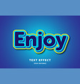 3d blue with yellow outline text effect editable vector image vector image