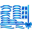 a set of assorted blue ribbons vector image