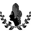 ancient roman hairstyle girl in a laurel wreath vector image