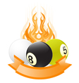 billiard ball emblem in flame vector image vector image