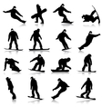 Black silhouettes set snowboarders on white vector image