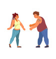 body positive plus size girls and boy dancing vector image vector image