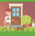 boy with her dog walking outdoor pet care vector image
