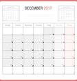 Calendar Planner for December 2017 vector image vector image