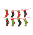 cartoon socks children clothing elements vector image