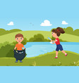 children collect trash garbage clean nature cute vector image vector image