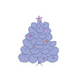christmas tree with blue snowy vector image