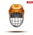 Classic orange Goalkeeper Ice Hockey Helmet vector image vector image