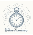 clock and vintage sun burst frameTime is money vector image vector image