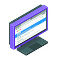 computer monitor with search results on it vector image vector image