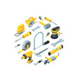 construction tools isometric icons in vector image vector image
