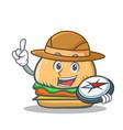 Explorer burger character fast food vector image