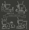 Fondue linear icons set vector image vector image