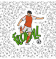 football soccer in sports uniform hits the vector image
