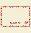 frame of hearts on a yellow background with text vector image vector image