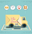 free shipping service with truck icon vector image
