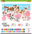 game of counting farm animals vector image vector image