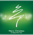 green abstract merry christmas tree line vector image