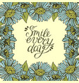 greeting card with lettering smile every day vector image vector image