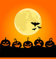 halloween night background with pumpkins vector image