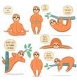 hand drawn sloths set vector image vector image