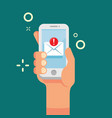 hand holding mobile phone with new email icon new vector image