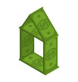 house of dollars building is made of money house vector image