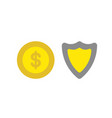 icon concept of dollar coin with guard shield vector image vector image
