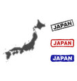 japan map in halftone dot style with grunge title vector image