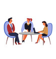 job interview employment man and women table and vector image