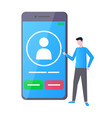 man using touchscreen phone communication vector image vector image