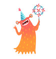 monster for kids with pinwheel or windmill party vector image vector image