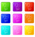 mousetrap icons set 9 color collection vector image