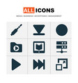 music icons set with media server arrow down vector image