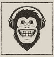 music monkey vintage grunge design vector image