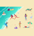 people at beach relaxing and performing outdoor vector image vector image