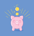 piggy bank iconon blue background cute saving pig vector image
