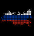 pixel map of russia with the flag inside vector image