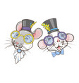 portraits rats in top hats and glasses vector image vector image