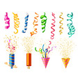realistic party popper set vector image vector image
