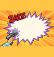 sale comic cloud science fiction shot of a blaster vector image