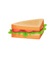 sandwich with tomato ham slices and lettuce vector image