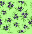 seamless pattern with ripe olives on branches vector image