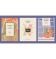 set banners with a girl reading a book autumn vector image