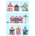 set of 7 various multicolored beach huts vector image