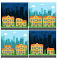 set of day and night city vector image