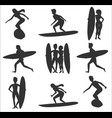 set of surfers silhouettes vector image vector image