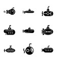 submarine watercraft icons set simple style vector image vector image