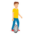 teenager boy riding unicycle electric scooter vector image